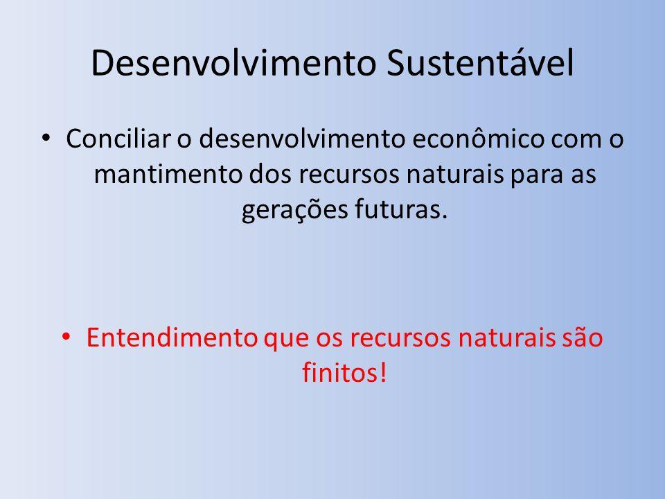 Desenvolvimento Sustentável Conciliar o desenvolvimento econômico com o mantimento dos recursos naturais para as gerações futuras.