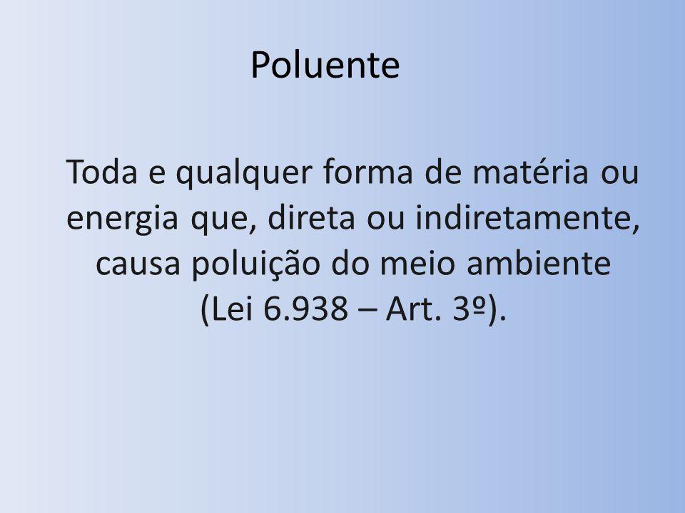 Poluente Toda e qualquer forma de matéria ou energia que, direta ou indiretamente, causa poluição do meio ambiente (Lei 6.938 – Art.