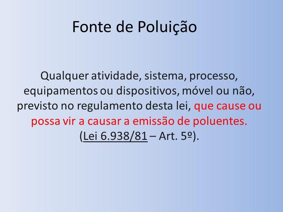 Fonte de Poluição Qualquer atividade, sistema, processo, equipamentos ou dispositivos, móvel ou não, previsto no regulamento desta lei, que cause ou possa vir a causar a emissão de poluentes.