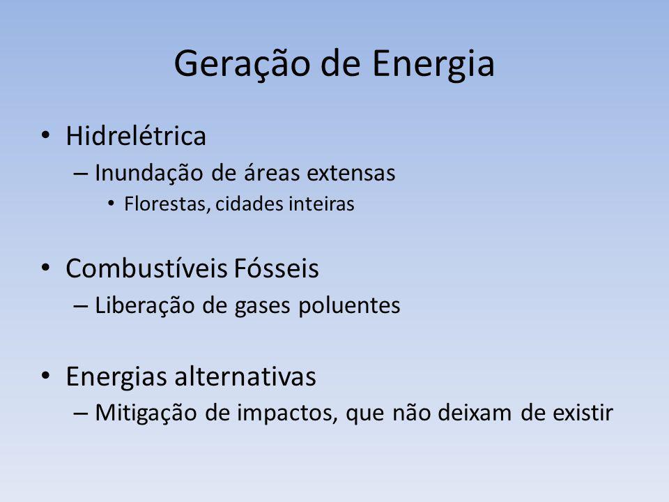 Geração de Energia Hidrelétrica – Inundação de áreas extensas Florestas, cidades inteiras Combustíveis Fósseis – Liberação de gases poluentes Energias