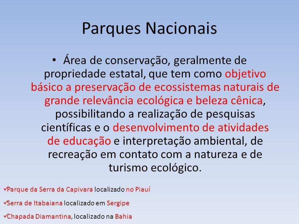 Parques Nacionais Área de conservação, geralmente de propriedade estatal, que tem como objetivo básico a preservação de ecossistemas naturais de grand