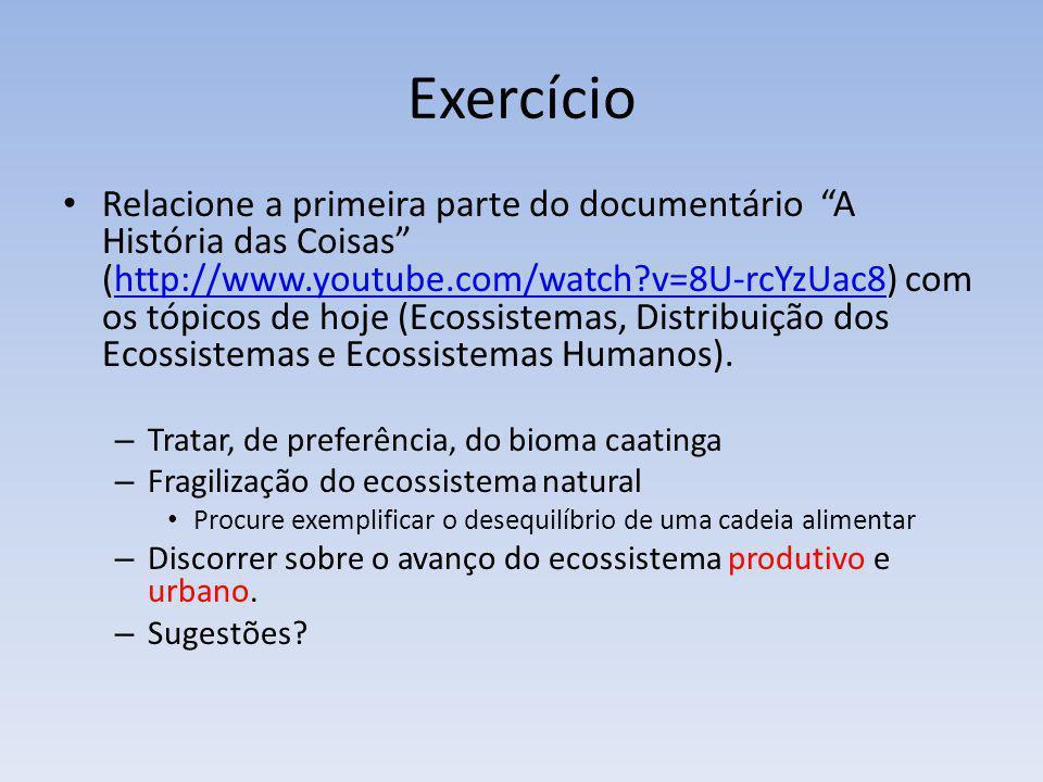 Exercício Relacione a primeira parte do documentário A História das Coisas (http://www.youtube.com/watch?v=8U-rcYzUac8) com os tópicos de hoje (Ecossi