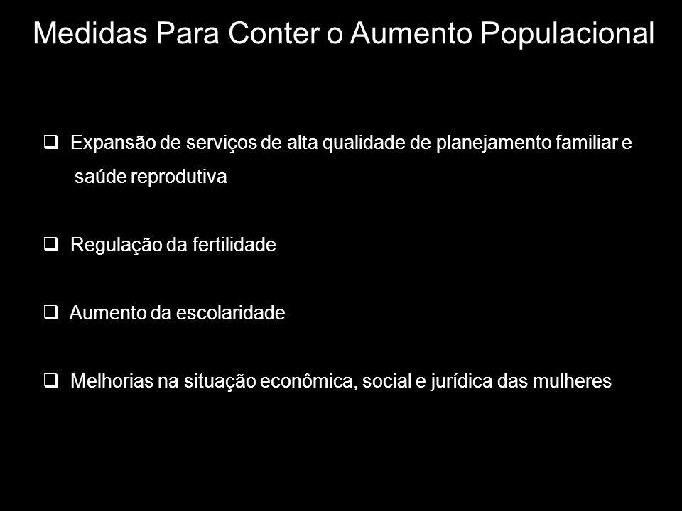 Medidas Para Conter o Aumento Populacional Expansão de serviços de alta qualidade de planejamento familiar e saúde reprodutiva Regulação da fertilidade Aumento da escolaridade Melhorias na situação econômica, social e jurídica das mulheres
