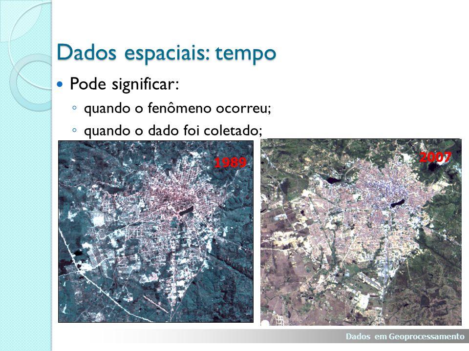 Pode significar: quando o fenômeno ocorreu; quando o dado foi coletado; 1989 2000 Dados espaciais: tempo Dados em Geoprocessamento 2007