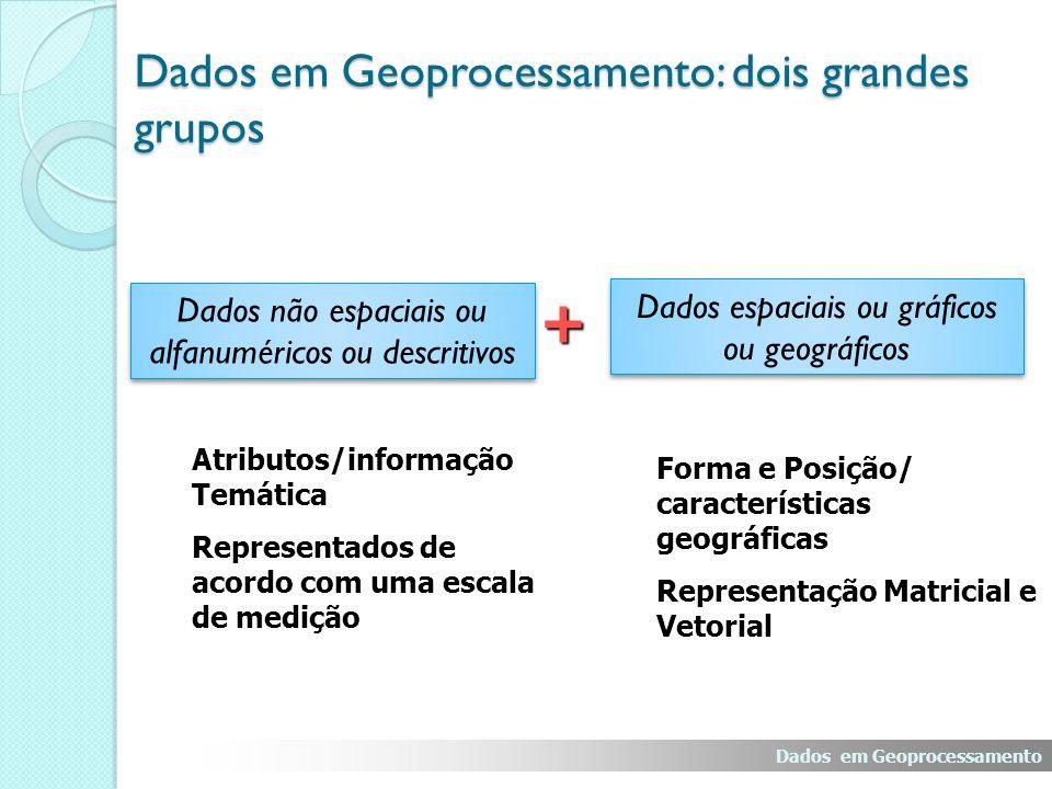 Dados em Geoprocessamento: dois grandes grupos + Dados não espaciais ou alfanuméricos ou descritivos Dados espaciais ou gráficos ou geográficos Atributos/informação Temática Representados de acordo com uma escala de medição Forma e Posição/ características geográficas Representação Matricial e Vetorial Dados em Geoprocessamento