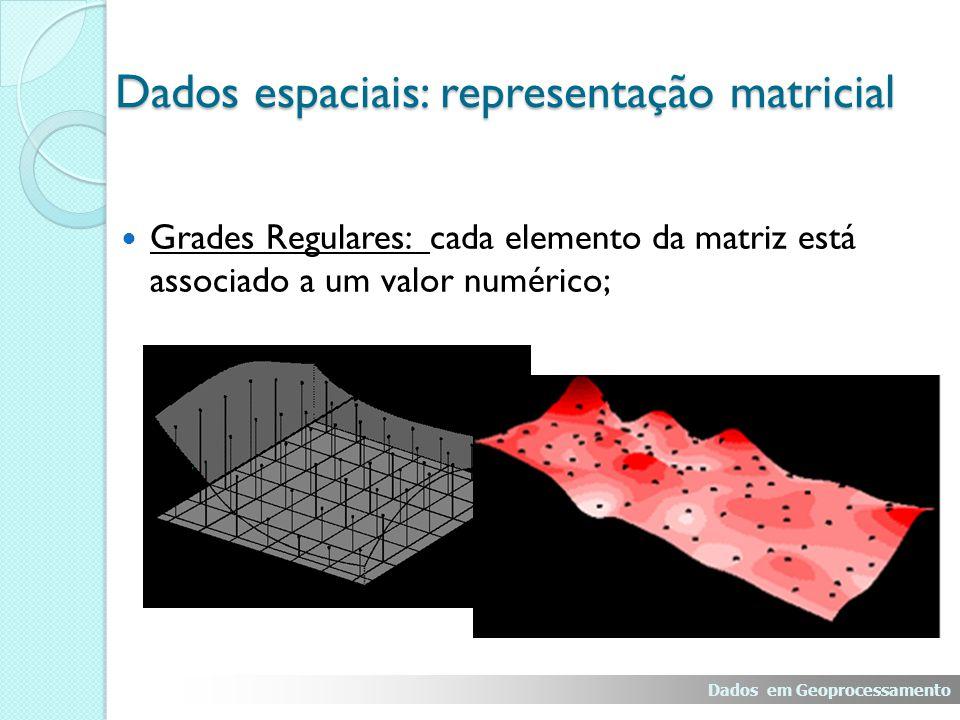 Grades Regulares: cada elemento da matriz está associado a um valor numérico; Dados em Geoprocessamento Dados espaciais: representação matricial