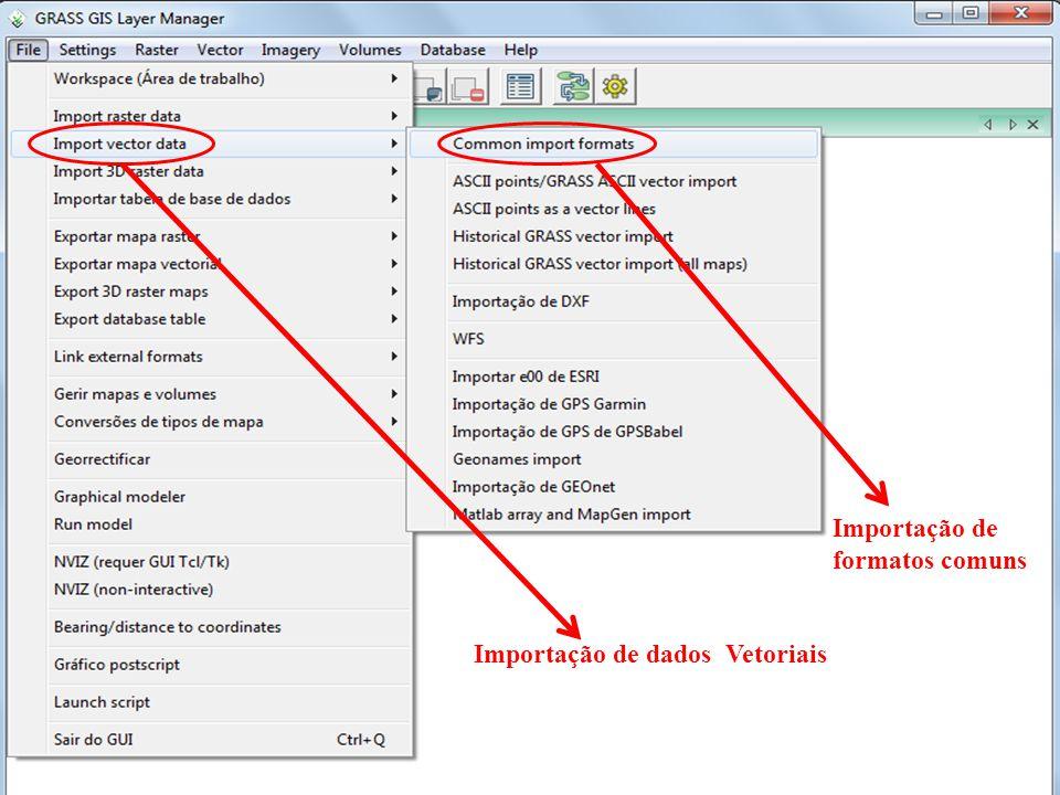 Importação de dados Vetoriais Importação de formatos comuns