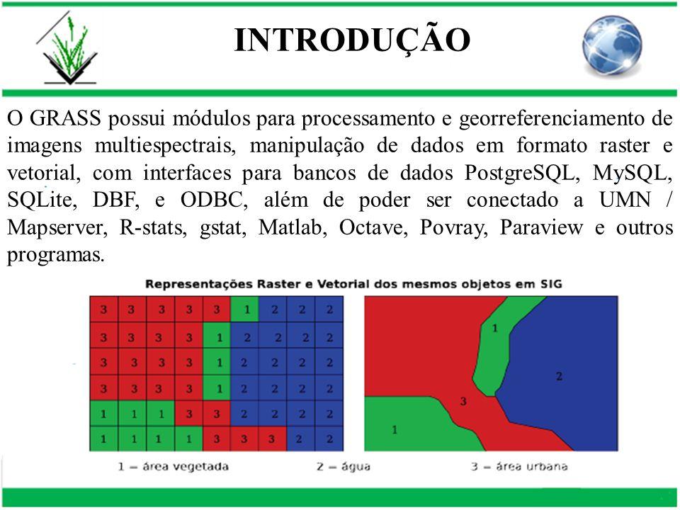 O GRASS possui módulos para processamento e georreferenciamento de imagens multiespectrais, manipulação de dados em formato raster e vetorial, com int