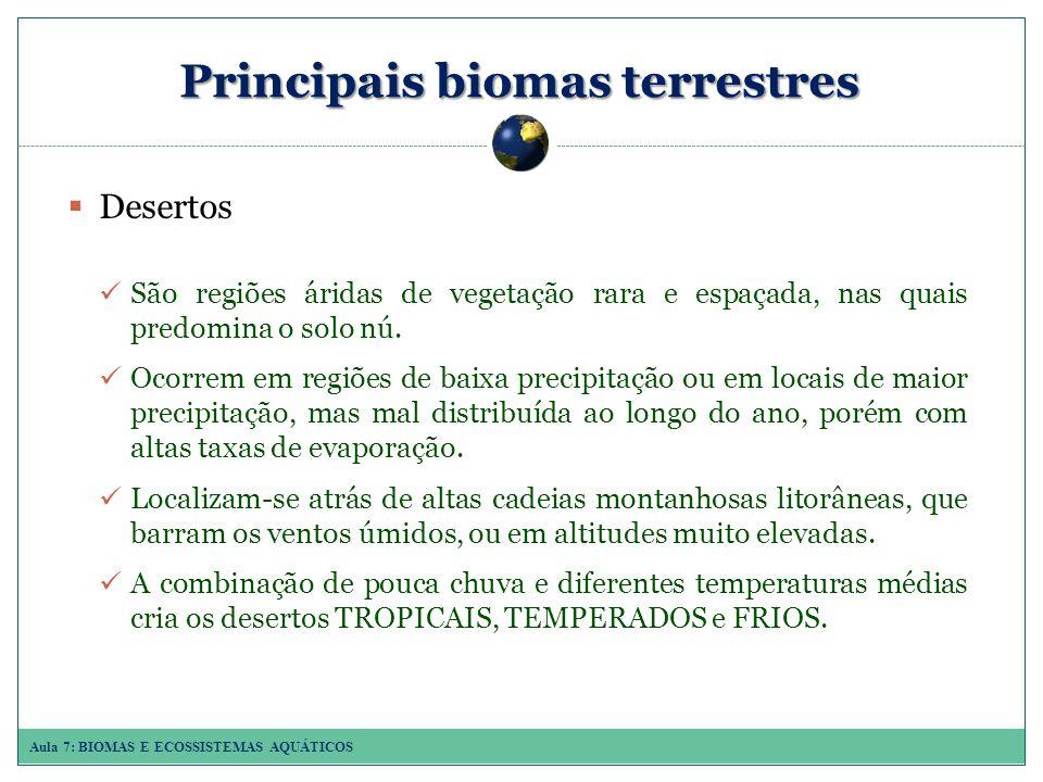 Aula 7: BIOMAS E ECOSSISTEMAS AQUÁTICOS Principais biomas terrestres Desertos São regiões áridas de vegetação rara e espaçada, nas quais predomina o solo nú.