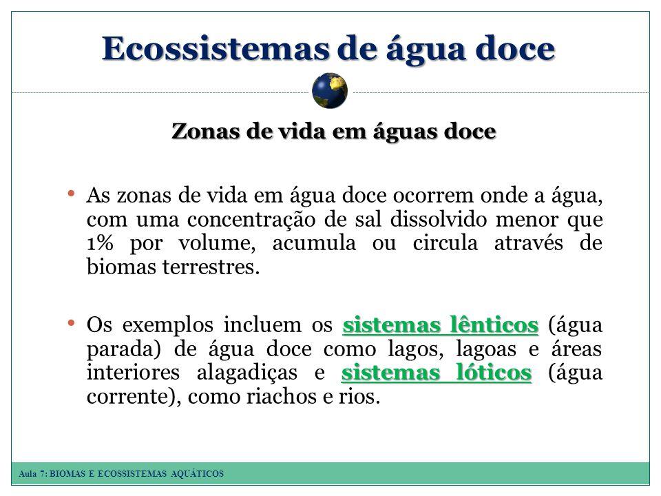 Aula 7: BIOMAS E ECOSSISTEMAS AQUÁTICOS As zonas de vida em água doce ocorrem onde a água, com uma concentração de sal dissolvido menor que 1% por volume, acumula ou circula através de biomas terrestres.