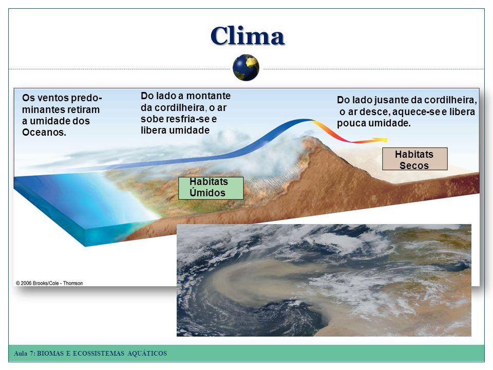 Aula 7: BIOMAS E ECOSSISTEMAS AQUÁTICOS Clima Os ventos predo- minantes retiram a umidade dos Oceanos.