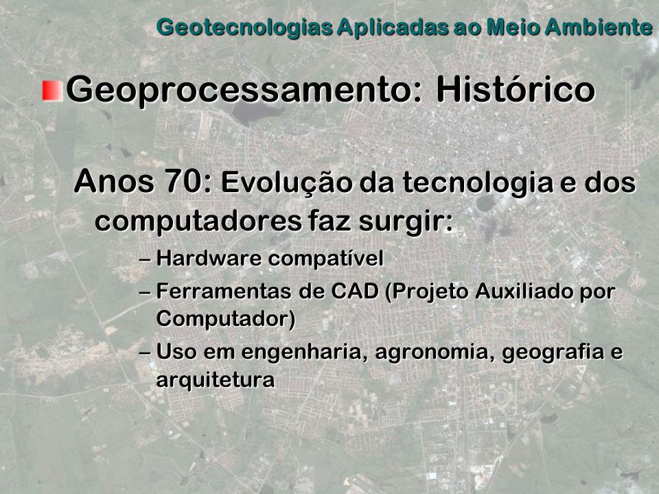 Geoprocessamento: Histórico Anos 70: Evolução da tecnologia e dos computadores faz surgir: –Hardware compatível –Ferramentas de CAD (Projeto Auxiliado