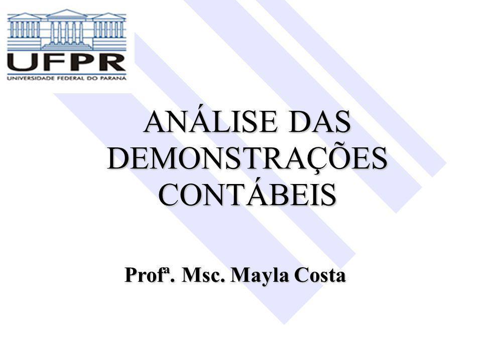 ANÁLISE DAS DEMONSTRAÇÕES CONTÁBEIS Profª. Msc. Mayla Costa