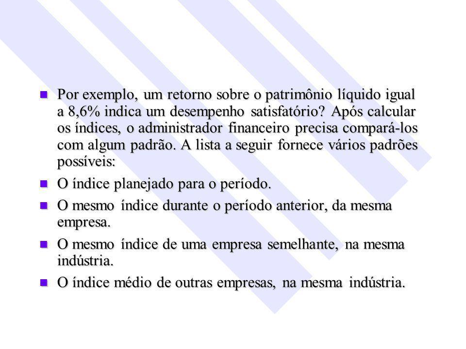 Por exemplo, um retorno sobre o patrimônio líquido igual a 8,6% indica um desempenho satisfatório.