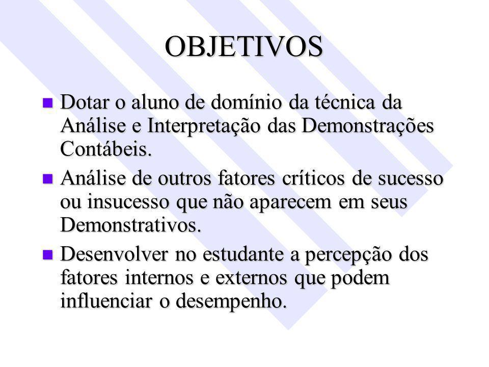 OBJETIVOS Dotar o aluno de domínio da técnica da Análise e Interpretação das Demonstrações Contábeis.