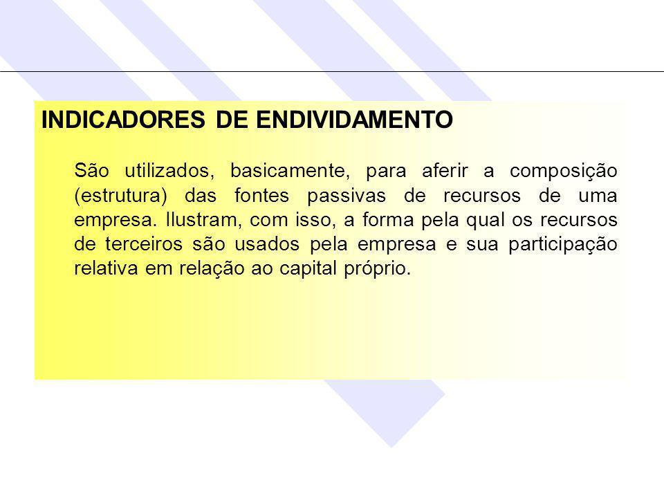 INDICADORES DE ENDIVIDAMENTO São utilizados, basicamente, para aferir a composição (estrutura) das fontes passivas de recursos de uma empresa.