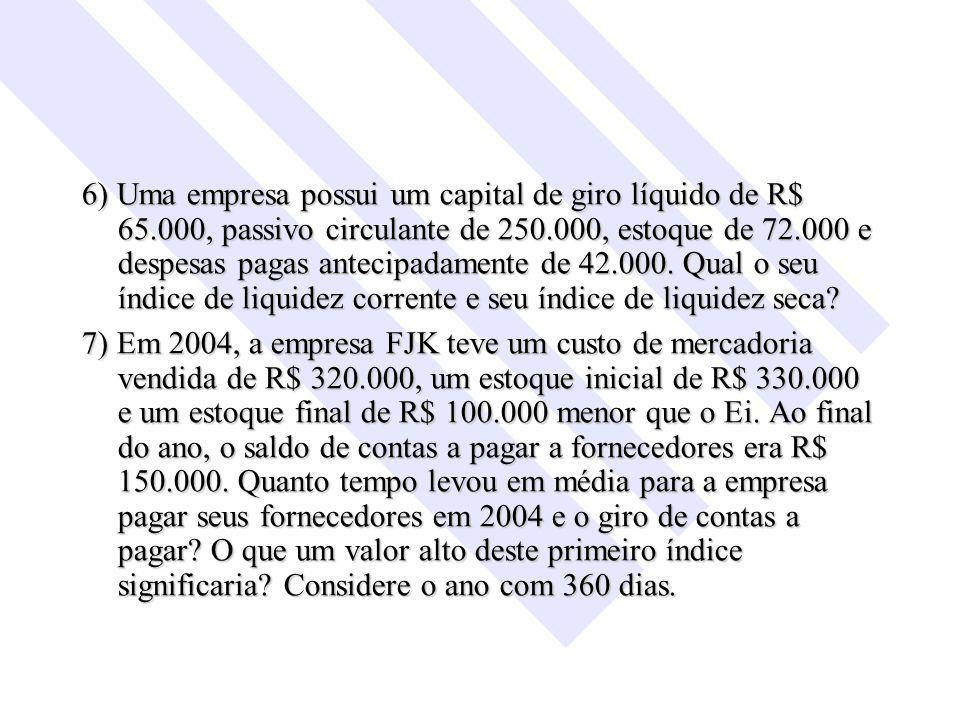 6) Uma empresa possui um capital de giro líquido de R$ 65.000, passivo circulante de 250.000, estoque de 72.000 e despesas pagas antecipadamente de 42.000.