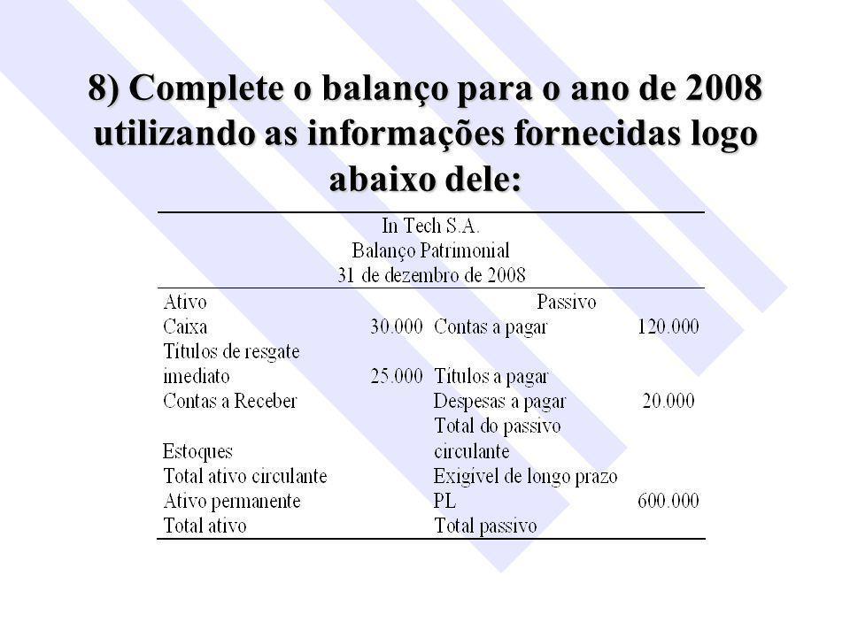 8) Complete o balanço para o ano de 2008 utilizando as informações fornecidas logo abaixo dele: