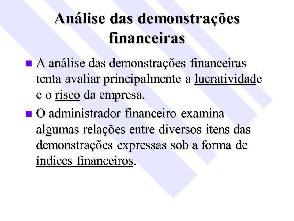 Análise das demonstrações financeiras A análise das demonstrações financeiras tenta avaliar principalmente a lucratividade e o risco da empresa.