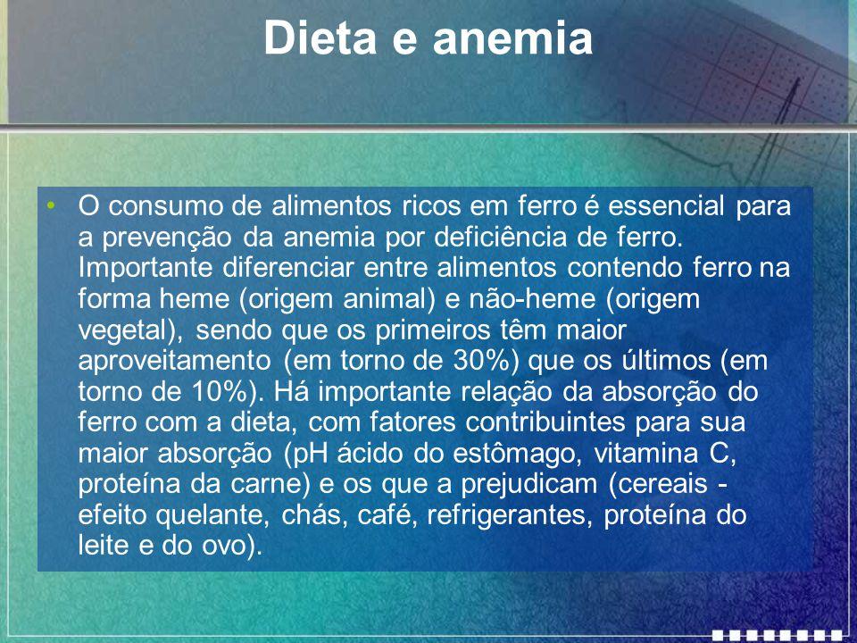 Dieta e anemia O consumo de alimentos ricos em ferro é essencial para a prevenção da anemia por deficiência de ferro.
