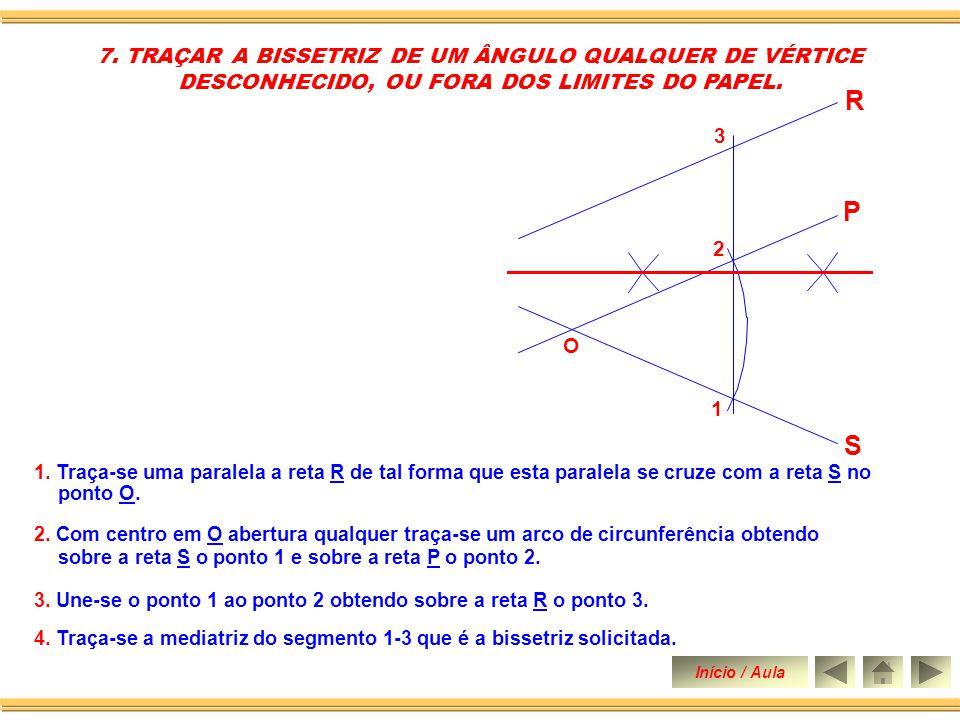 2.Ainda com centro no vértice O e abertura qualquer traça-se arco 3-4 4.