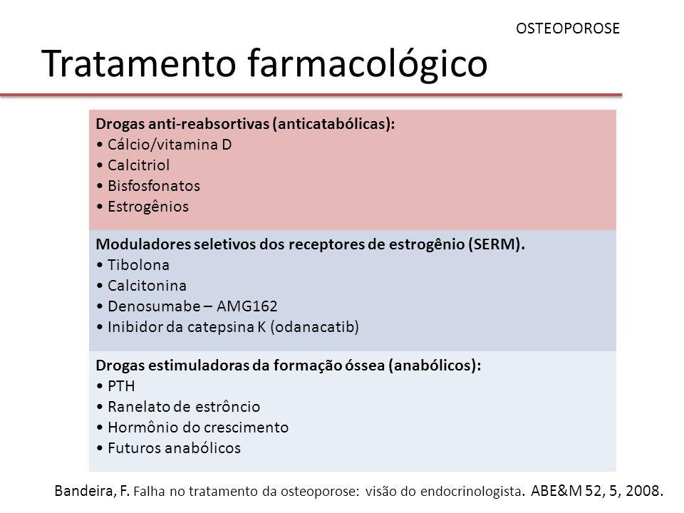 Tratamento farmacológico OSTEOPOROSE Drogas anti-reabsortivas (anticatabólicas): Cálcio/vitamina D Calcitriol Bisfosfonatos Estrogênios Moduladores se