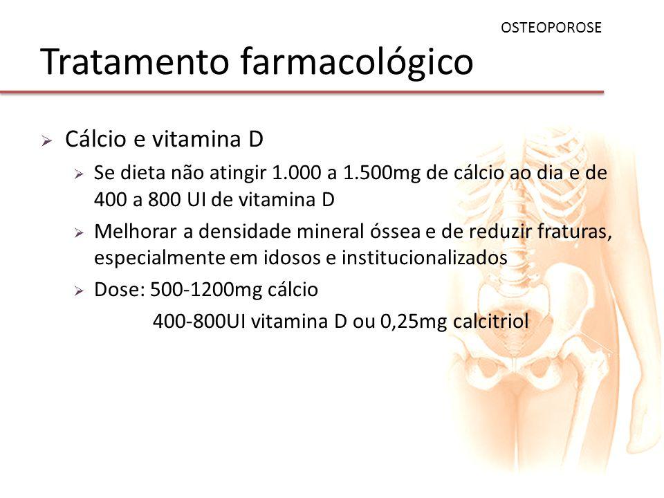 Tratamento farmacológico Cálcio e vitamina D Se dieta não atingir 1.000 a 1.500mg de cálcio ao dia e de 400 a 800 UI de vitamina D Melhorar a densidad