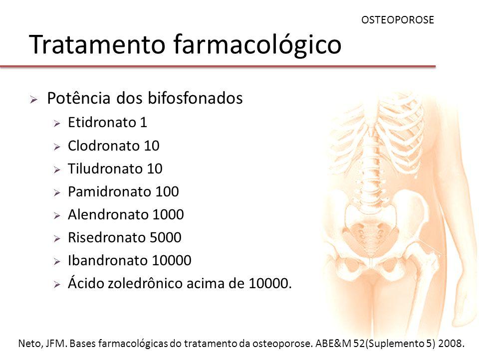 Tratamento farmacológico Potência dos bifosfonados Etidronato 1 Clodronato 10 Tiludronato 10 Pamidronato 100 Alendronato 1000 Risedronato 5000 Ibandro