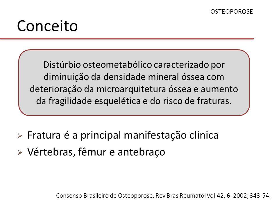 Conceito Fratura é a principal manifestação clínica Vértebras, fêmur e antebraço OSTEOPOROSE Consenso Brasileiro de Osteoporose. Rev Bras Reumatol Vol
