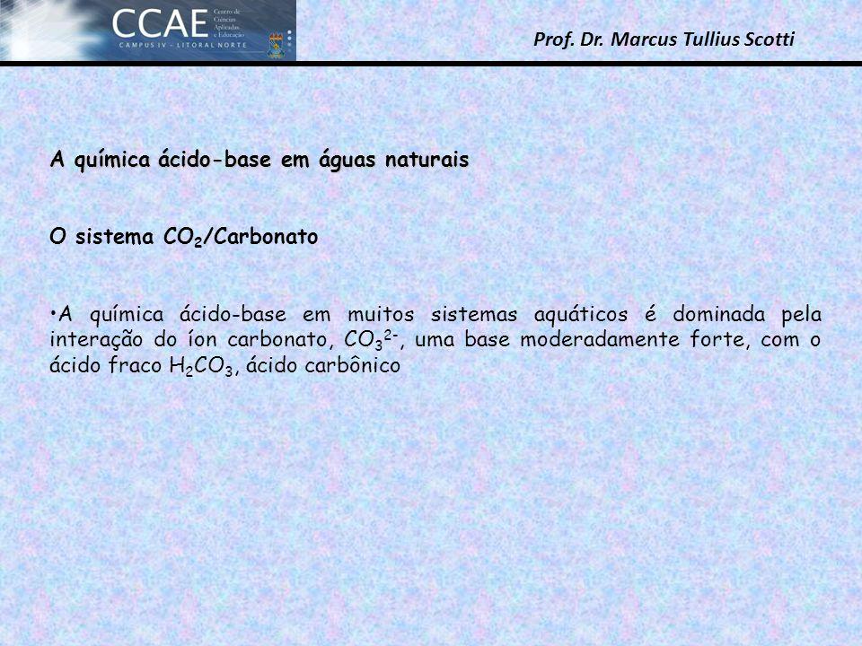 Prof. Dr. Marcus Tullius Scotti A química ácido-base em águas naturais O sistema CO 2 /Carbonato A química ácido-base em muitos sistemas aquáticos é d