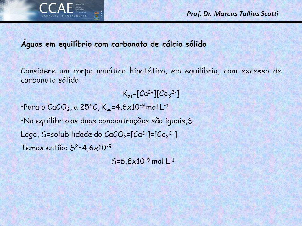 Prof. Dr. Marcus Tullius Scotti Águas em equilíbrio com carbonato de cálcio sólido Considere um corpo aquático hipotético, em equilíbrio, com excesso