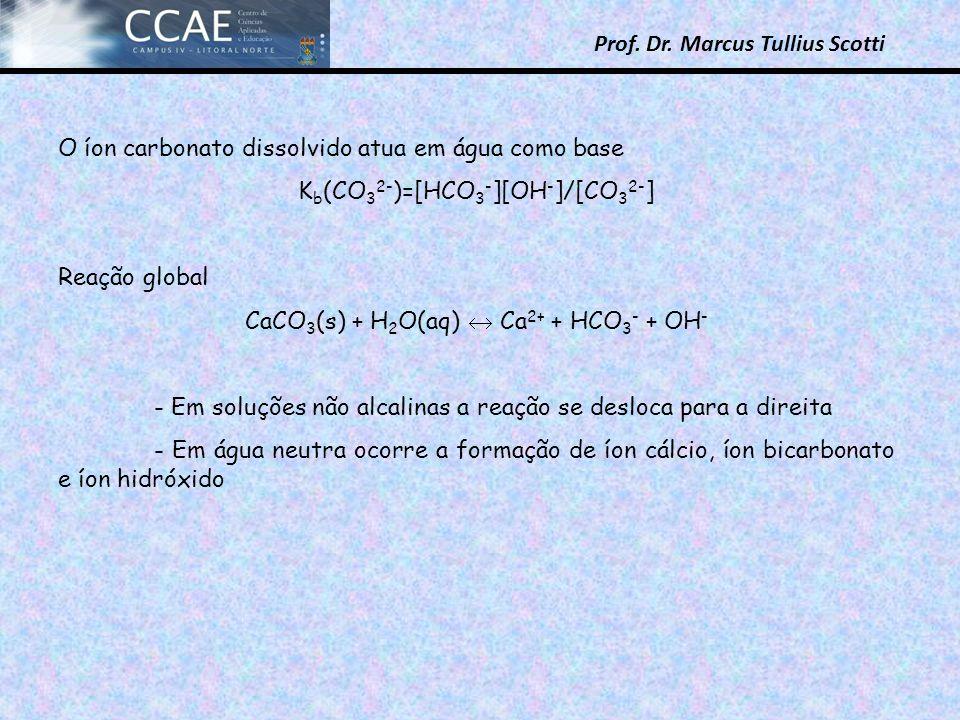 Prof. Dr. Marcus Tullius Scotti O íon carbonato dissolvido atua em água como base K b (CO 3 2- )=[HCO 3 - ][OH - ]/[CO 3 2- ] Reação global CaCO 3 (s)