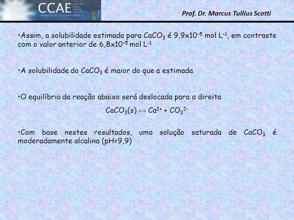 Prof. Dr. Marcus Tullius Scotti Assim, a solubilidade estimada para CaCO 3 é 9,9x10 -5 mol L -1, em contraste com o valor anterior de 6,8x10 -5 mol L