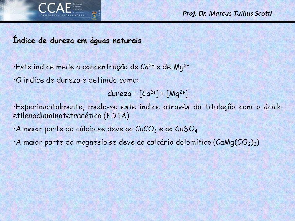 Prof. Dr. Marcus Tullius Scotti Índice de dureza em águas naturais Este índice mede a concentração de Ca 2+ e de Mg 2+ O índice de dureza é definido c