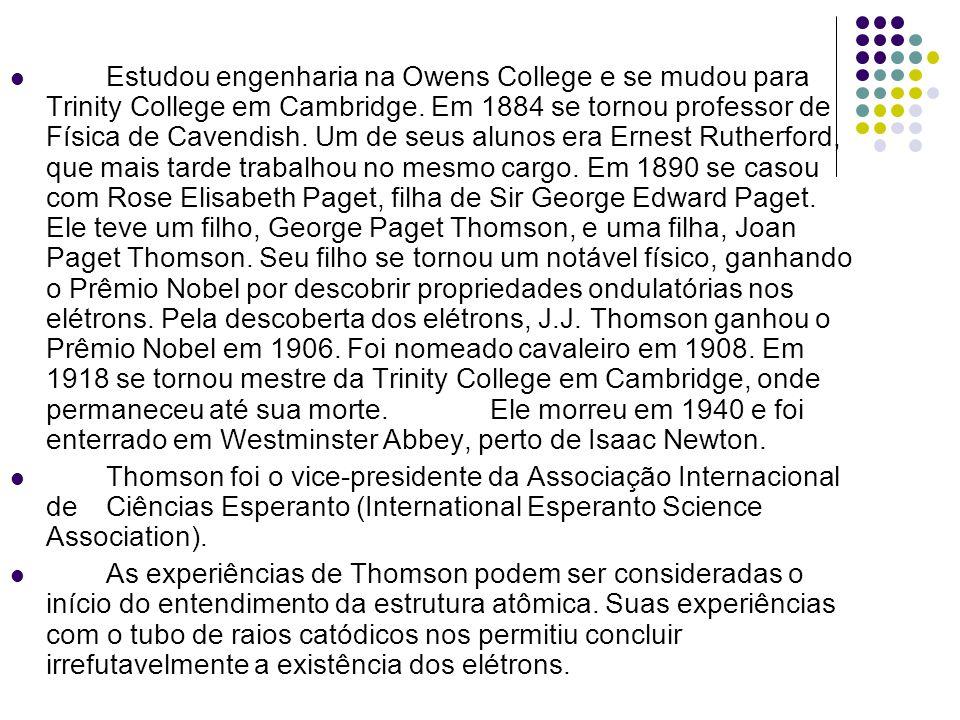 Estudou engenharia na Owens College e se mudou para Trinity College em Cambridge. Em 1884 se tornou professor de Física de Cavendish. Um de seus aluno