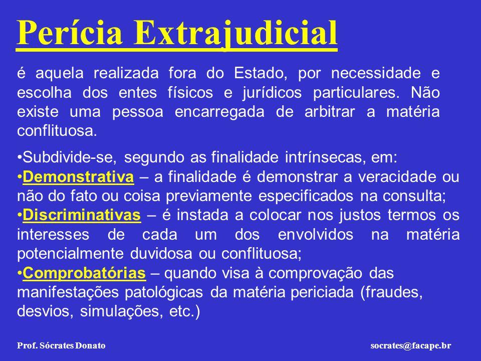 Prof. Sócrates Donato socrates@facape.br Perícia Extrajudicial é aquela realizada fora do Estado, por necessidade e escolha dos entes físicos e jurídi