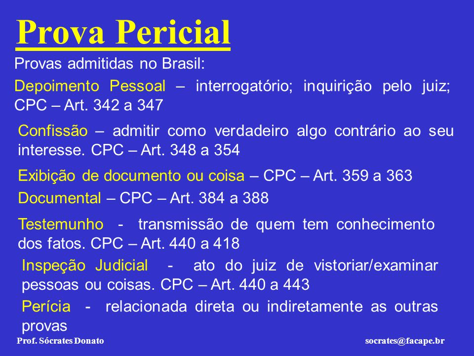 Prof. Sócrates Donato socrates@facape.br Prova Pericial Testemunho - transmissão de quem tem conhecimento dos fatos. CPC – Art. 440 a 418 Provas admit