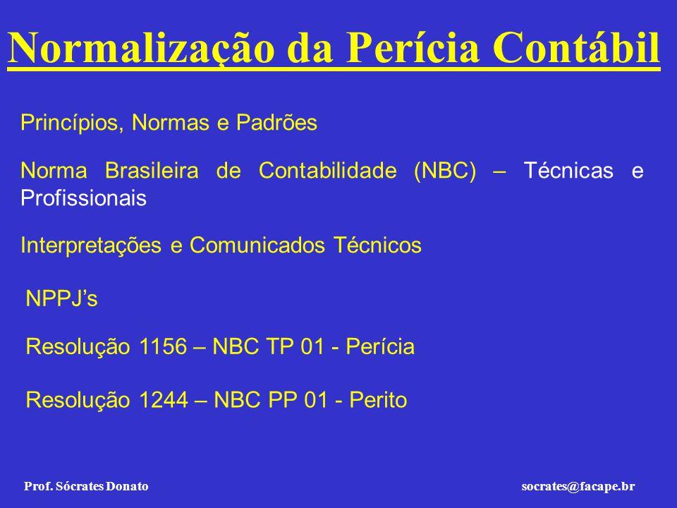 Prof. Sócrates Donato socrates@facape.br Normalização da Perícia Contábil Princípios, Normas e Padrões Norma Brasileira de Contabilidade (NBC) – Técni