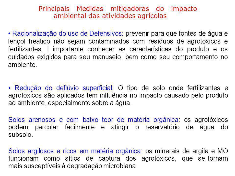 Principais Medidas mitigadoras do impacto ambiental das atividades agrícolas Racionalização do uso de Defensivos: prevenir para que fontes de água e l