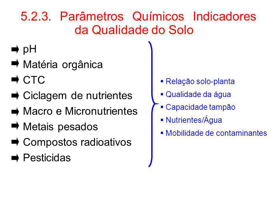 5.2.3. Parâmetros Químicos Indicadores da Qualidade do Solo pH Matéria orgânica CTC Relação solo-planta Qualidade da água Ciclagem de nutrientes Capac
