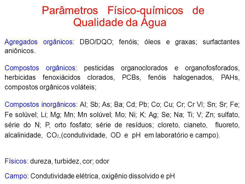 Parâmetros Físico-químicos de Qualidade da Água Agregados orgânicos: DBO/DQO; fenóis; óleos e graxas; surfactantes aniônicos. Compostos orgânicos: pes