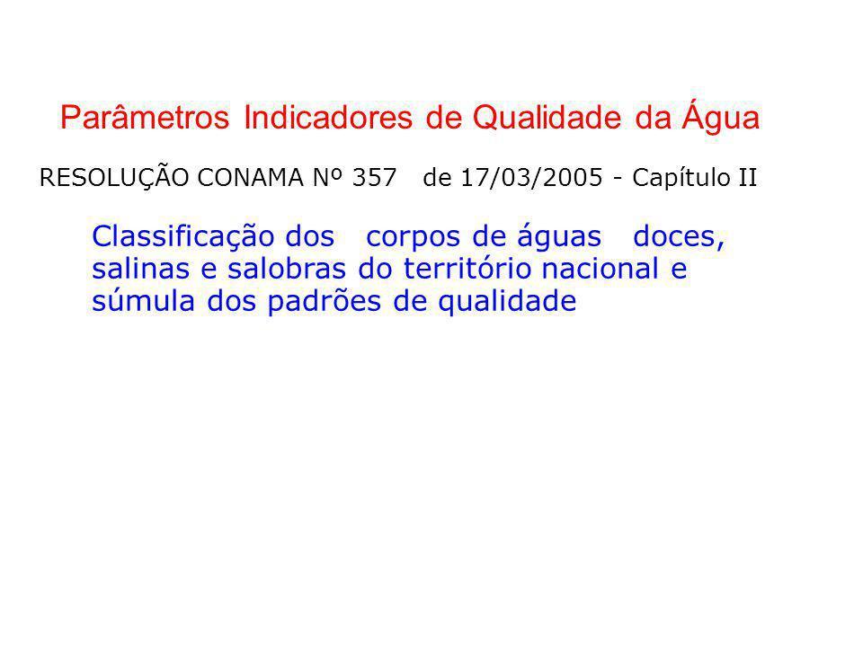 Parâmetros Indicadores de Qualidade da Água RESOLUÇÃO CONAMA Nº 357 de 17/03/2005 - Capítulo II Classificação dos corpos de águas doces, salinas e sal