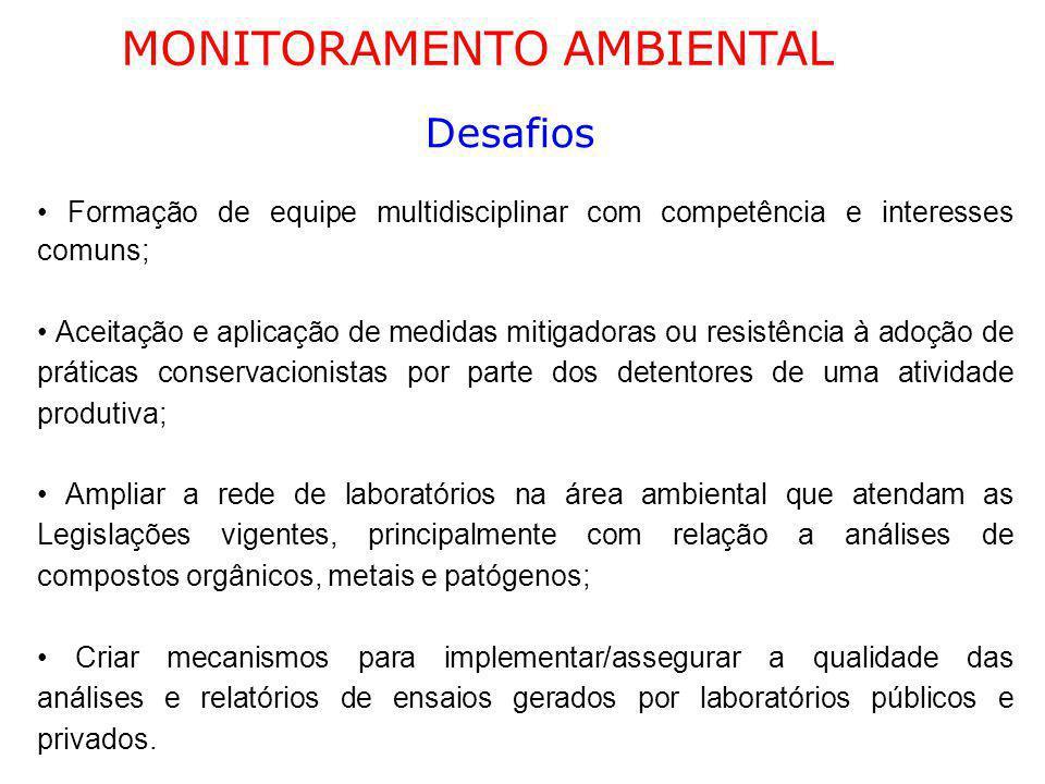 MONITORAMENTO AMBIENTAL Desafios Formação de equipe multidisciplinar com competência e interesses comuns; Aceitação e aplicação de medidas mitigadoras