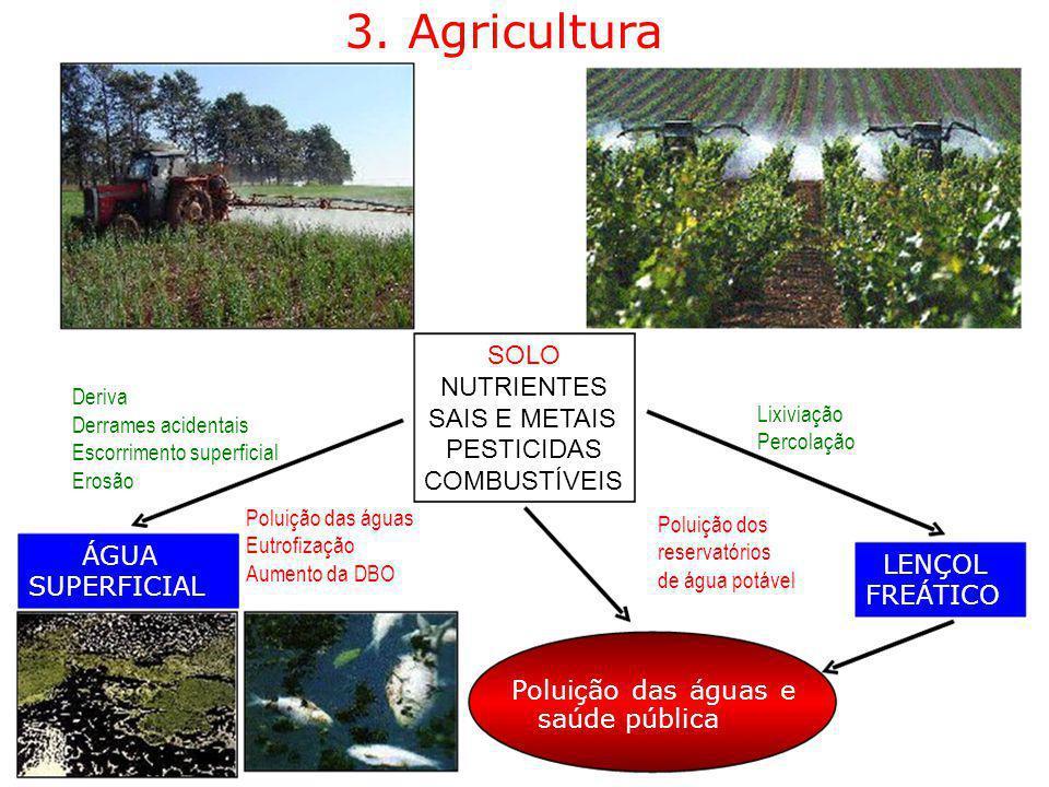 3. Agricultura SOLO NUTRIENTES Deriva Lixiviação SAIS E METAIS Derrames acidentais Percolação Escorrimento superficial PESTICIDAS Erosão COMBUSTÍVEIS