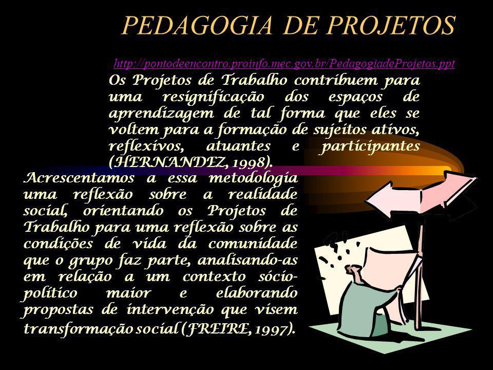 PEDAGOGIA DE PROJETOS http://pontodeencontro.proinfo.mec.gov.br/PedagogiadeProjetos.ppt http://pontodeencontro.proinfo.mec.gov.br/PedagogiadeProjetos.ppt Os Projetos de Trabalho contribuem para uma resignificação dos espaços de aprendizagem de tal forma que eles se voltem para a formação de sujeitos ativos, reflexivos, atuantes e participantes (HERNANDEZ, 1998).