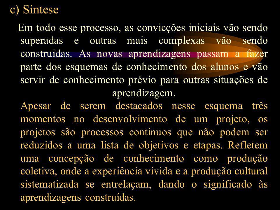 c) Síntese Em todo esse processo, as convicções iniciais vão sendo superadas e outras mais complexas vão sendo construidas.