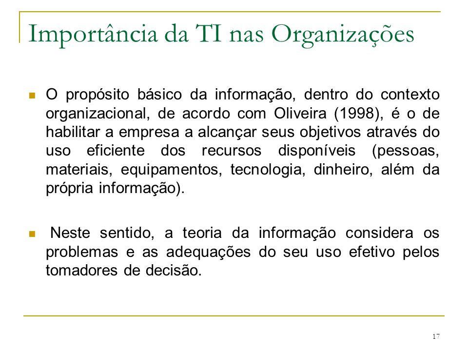 17 Importância da TI nas Organizações O propósito básico da informação, dentro do contexto organizacional, de acordo com Oliveira (1998), é o de habil