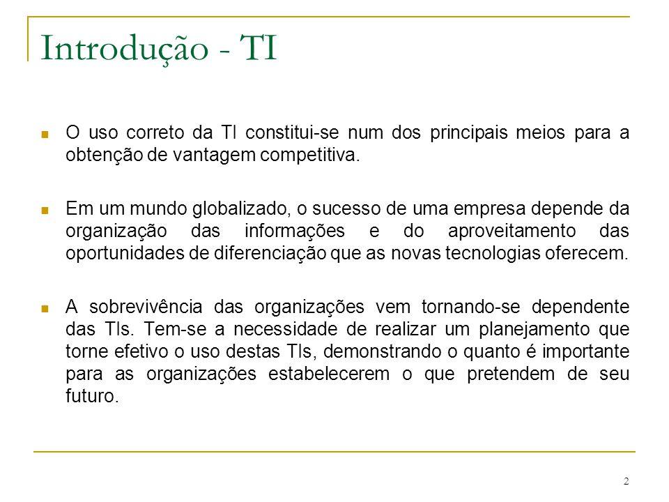2 Introdução - TI O uso correto da TI constitui-se num dos principais meios para a obtenção de vantagem competitiva. Em um mundo globalizado, o sucess