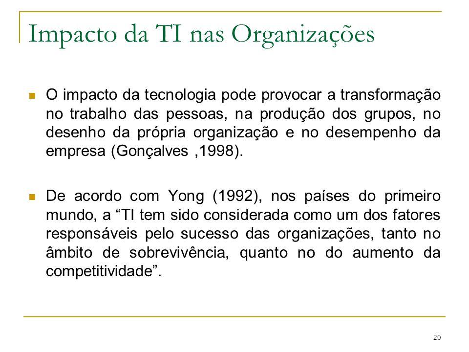 20 Impacto da TI nas Organizações O impacto da tecnologia pode provocar a transformação no trabalho das pessoas, na produção dos grupos, no desenho da