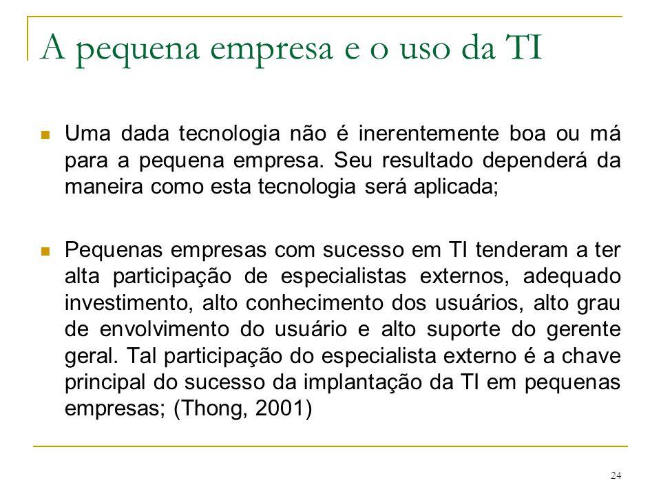 24 A pequena empresa e o uso da TI Uma dada tecnologia não é inerentemente boa ou má para a pequena empresa. Seu resultado dependerá da maneira como e